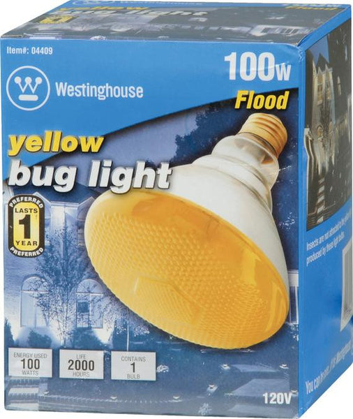 100 Watt BR38 Incandescent Bug Light Bulb, Yellow Flood E26 (Medium) Base, Box - Lighting Getz