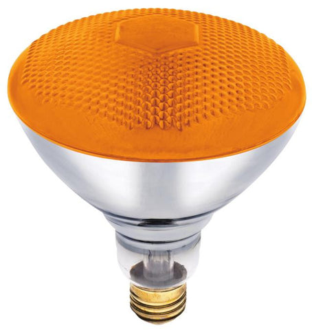 100 Watt BR38 Incandescent Flood Light Bulb, Amber E26 (Medium) Base, 120 Volt, Box