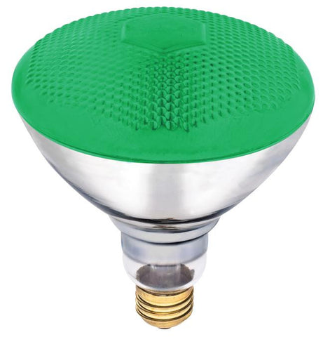 100 Watt BR38 Incandescent Light Bulb, Green Flood E26 (Medium) Base, 120 Volt, Box