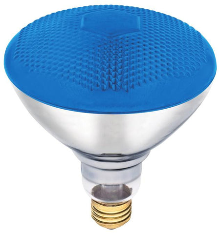 100 Watt BR38 Incandescent Light Bulb, Blue Flood E26 (Medium) Base, 120 Volt, Box