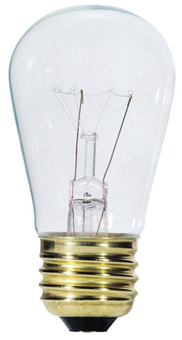 11 Watt S14 Incandescent Light Bulb, 2700K Clear E26 (Medium) Base, 130 Volt, Card