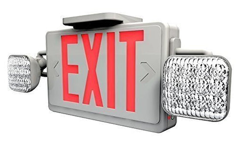 LED Red Exit Sign & Emergency Light Combo with Battery Backup