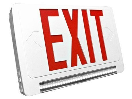 LED Red Exit Sign & Emergency LED Lightpipe Combo with Battery Backup - Lighting Getz