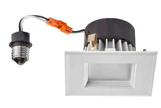 LED Retrofit, 4 Inch 10 Watt 3000K LED Retrofit Module with White Square Baffle Trim