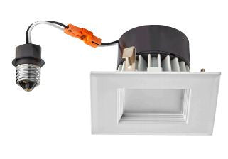 LED Retrofit,  4 Inch 10 Watt 4000K LED Retrofit Module with White Square Baffle Trim - Lighting Getz
