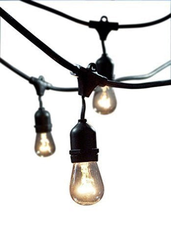 Outdoor String Light with Incandescent 11S14 Bulbs 15/E26-S14K with 15 Lights, 48-Feet -