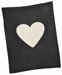 Black with Cream Heart Baby Blanket