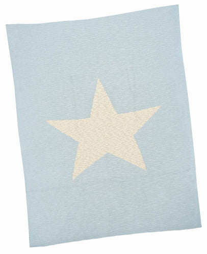 Blue with Cream Star Baby Blanket