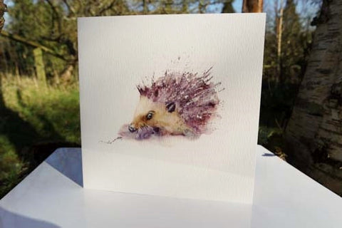 Hedgehog - Card - watercolours by rachel