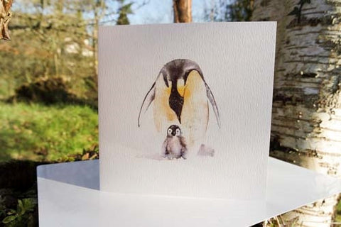 Penguin - Card - watercolours by rachel