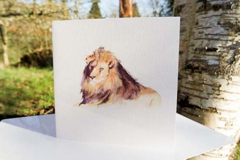 Lion - Card - watercolours by rachel