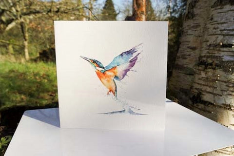 Kingfisher - Card - watercolours by rachel