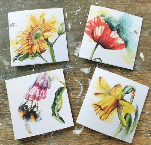 Flowers and Bees ( 4 cards)