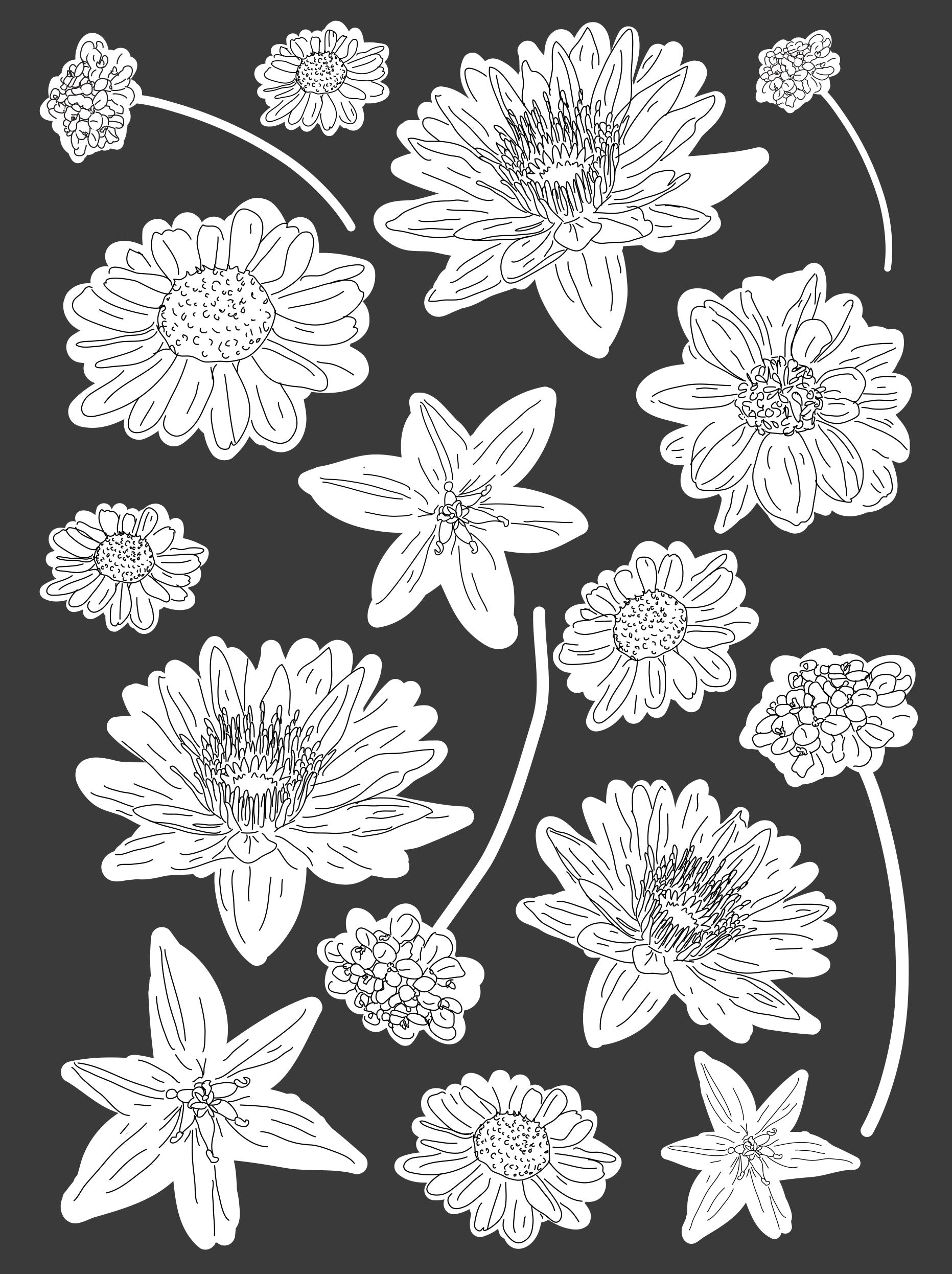 24 West Lemon Sketched Flowers Scarf Template