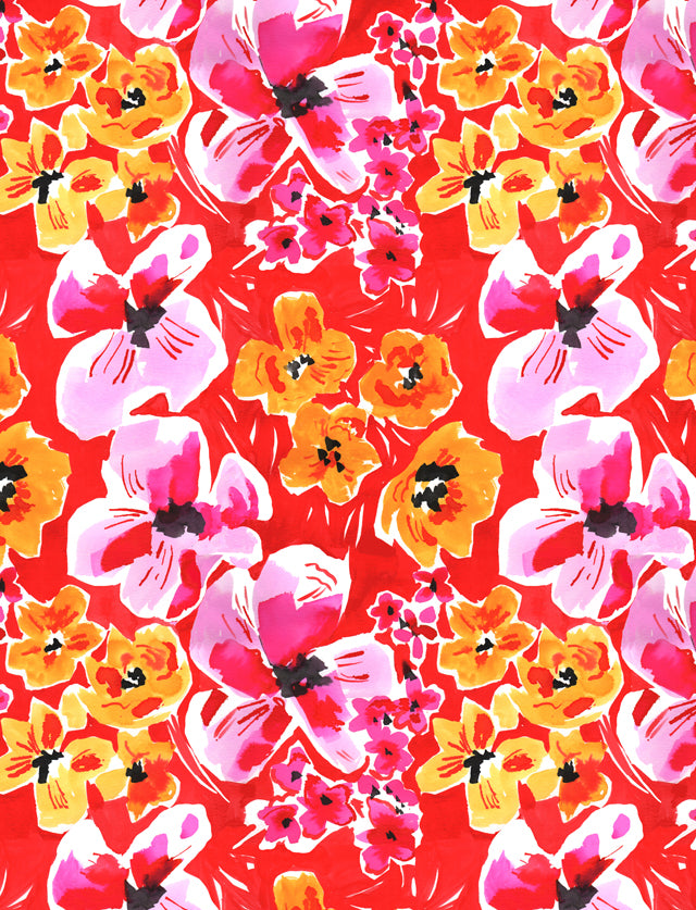 Poppy Red Floral Scarf