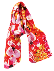 24 West Lemon Poppy Red Floral Scarf