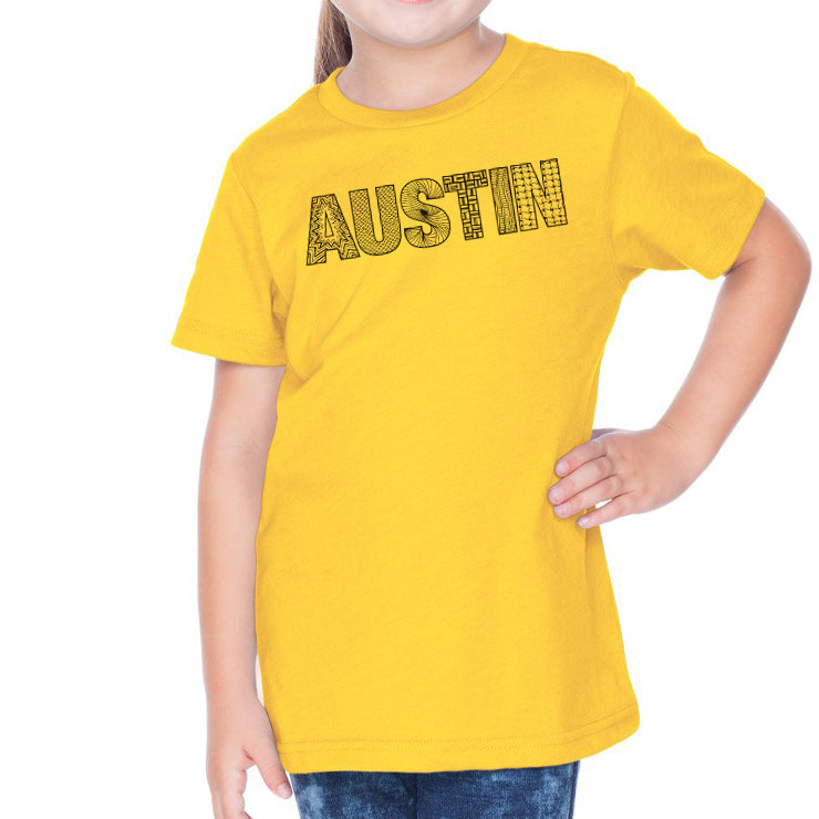 Austin  // 0494 Yellow // Austin Zentangle Tee