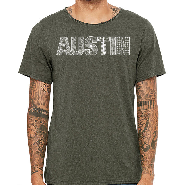 Austin // Style 3413 Military Green // Austin Zentangle Tee