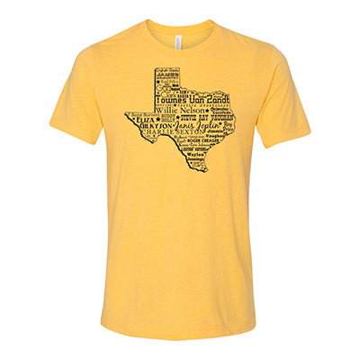Music Heart of Texas // Style 3413 Mustard// Texas Music Shirt - Unisex Fit