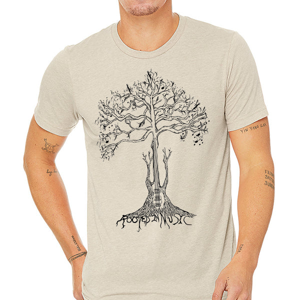 Rooted in Music // Style 3413 Tan // Music Lover Tee Shirt