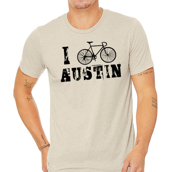 I Bike Austin // Style 3413 Tan // Biking Tee Shirt