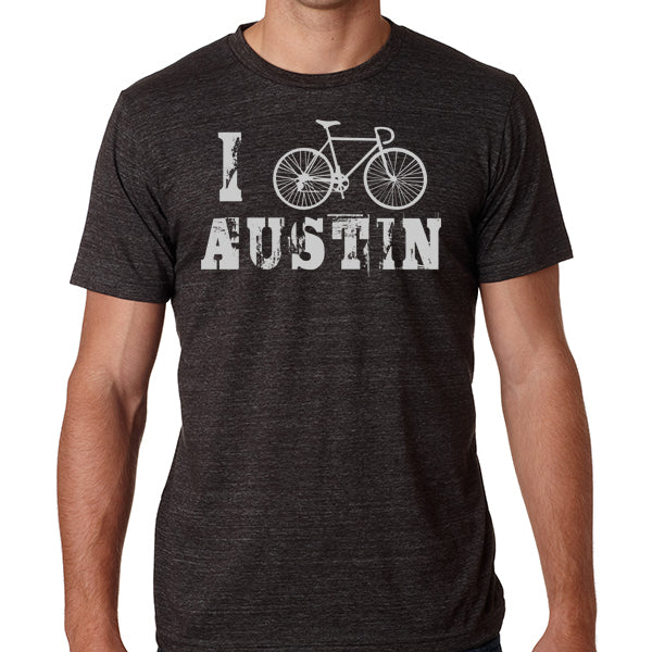 I Bike Austin // Style 3413 Charcoal // Biking Tee Shirt