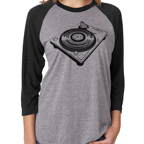 Turntable // Style 6051 Grey Baseball  //  Classic Record Shirt