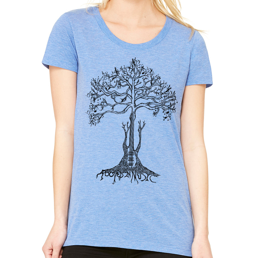 Rooted in Music // Style 8413 TriBlend Blue // Music Lover Tee