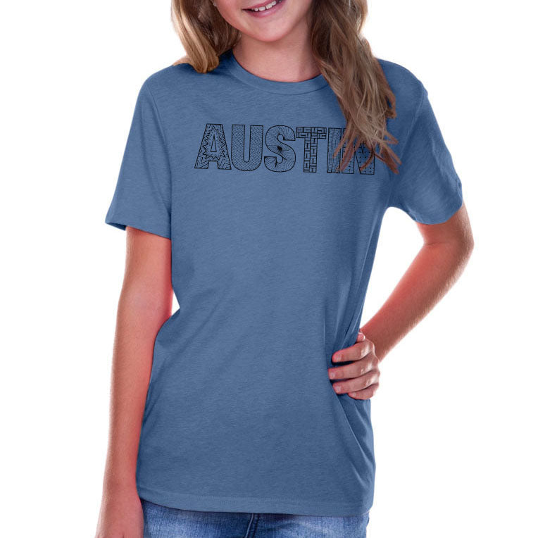 Austin // 0495 Steel Blue // Austin Zentangle Tee