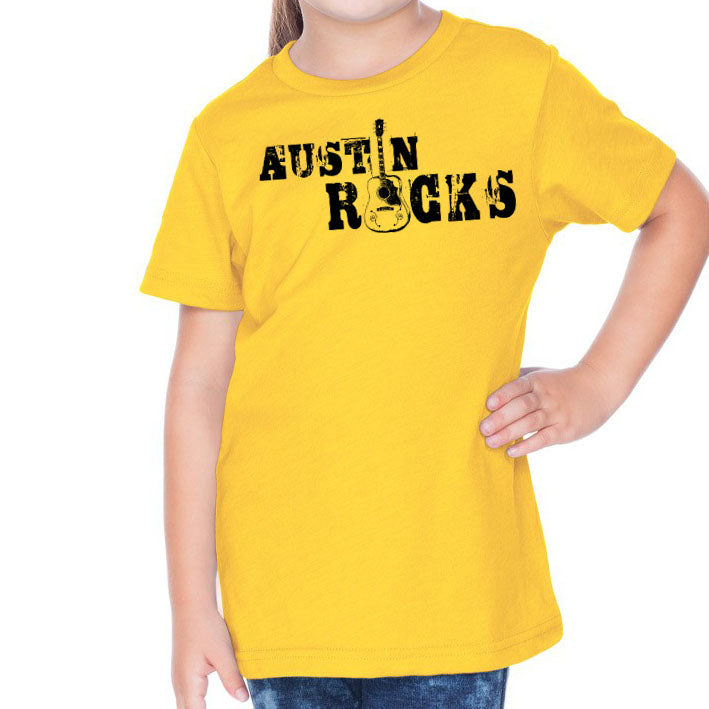 Austin Rocks // 0494 Yellow // Austin Music Shirt
