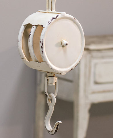 Rustic Farmhouse Country Decorative Distressed White Metal Pulley with Hook