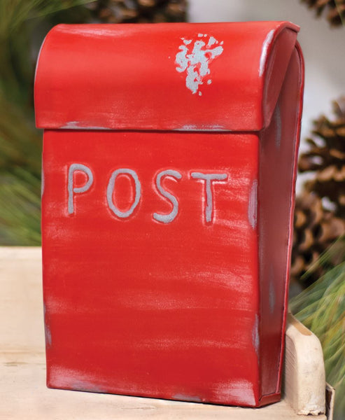 Vintage Inspired Rustic Distressed Metal Country Red Post Box