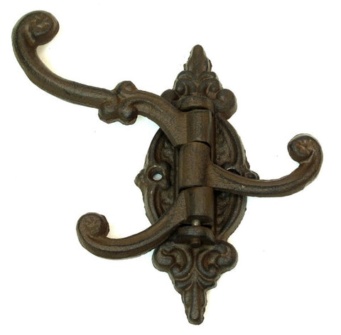 Cast Iron Swivel 3 Hook Antique Hanging Wall Coats Hats Keys Single Hall Tree
