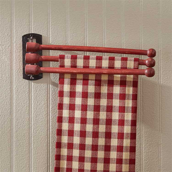 Farmhouse Country Red Wooden 3 Prong Towel Wall Rack Park Design