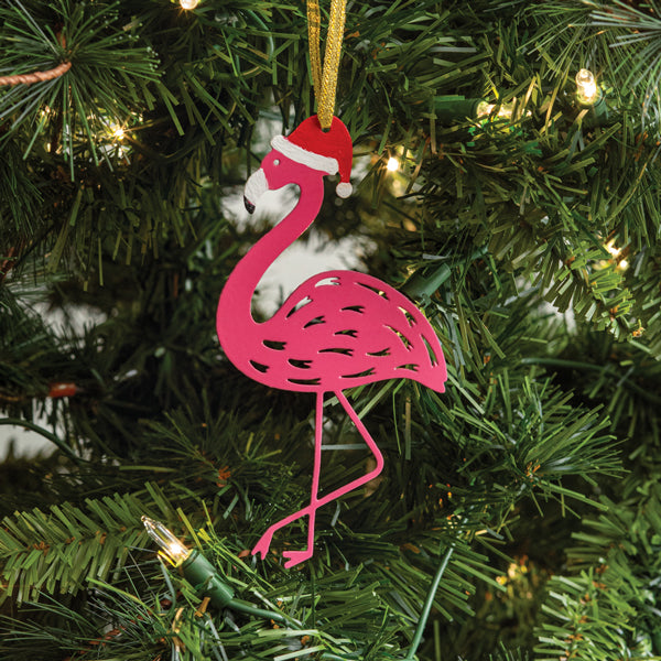 Holiday Pink Flamingo Metal Ornament with Santa Hat