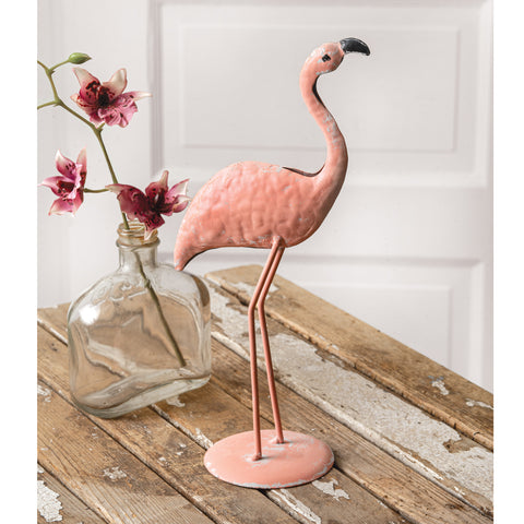 "Tropical Tango Pink Flamingo Table Top Metal 10.5"" Tall Statue"