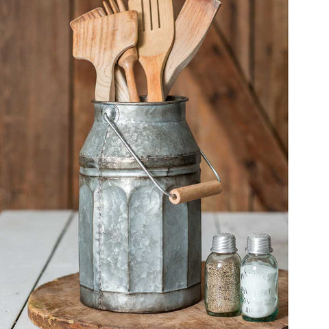 Rustic Country Farmhouse Galvanized Metal Milk Pail  with Wooden Handle