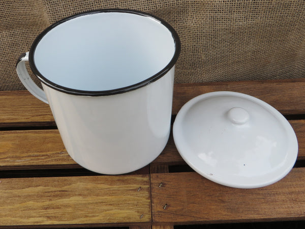 "Large  5"" White w/ Black Enamel Mug / Cup & Lid, Vintage Reproduction Enamelware"