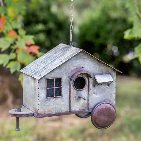 Rustic Country Distressed Happy Camper Metal Birdhouse