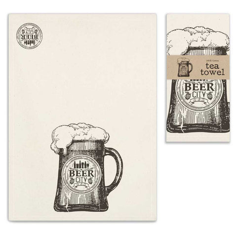 "Country ""Beer City "" Unbleached Flour Sack Tea Towel 100% Cotton"