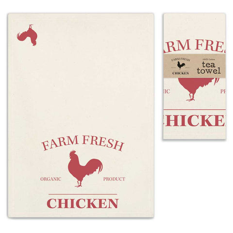 "Country"" Farm Fresh Chicken"" Unbleached Flour Sack Tea Towel 100% Cotton"