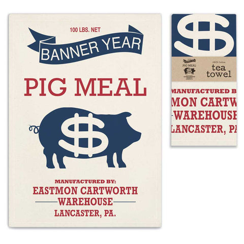 "Country"" PIG MEAL""Advertisement Unbleached Flour Sack Tea Towel 100% Cotton"