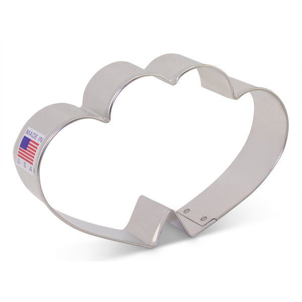 "Double Heart 4 5/8"" Cookie Cutter Made from USA Tin Plated Steel By Ann Clark"
