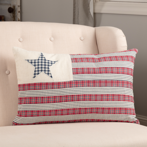 Americana Primitive Hatteras Quilted Patch Flag 14 x 22 Filled Accent Pillow