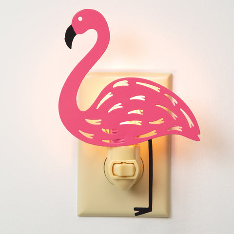 Adorable Cute Pink Flamingo Metal Nightlight-