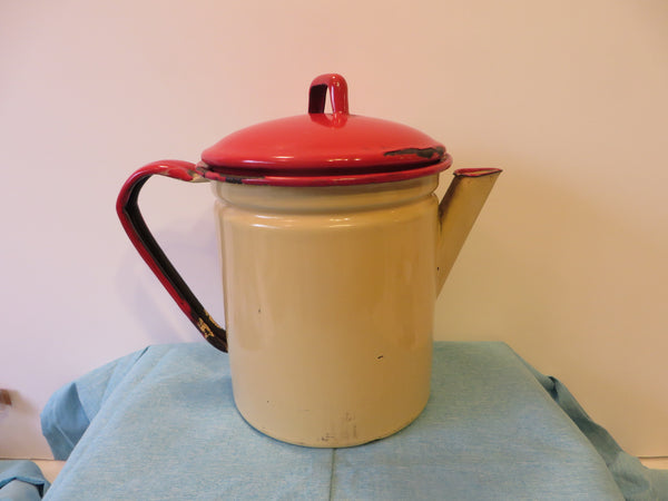Vintage Enamelware Cream with Red Lid & Trim Coffee Coffee Pot with Filter