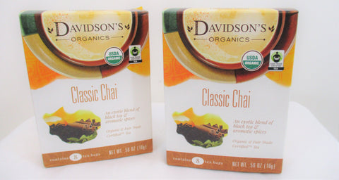 Davidson's Organics Classic Chai Black Tea 2-boxes 16 Single Tea Bags