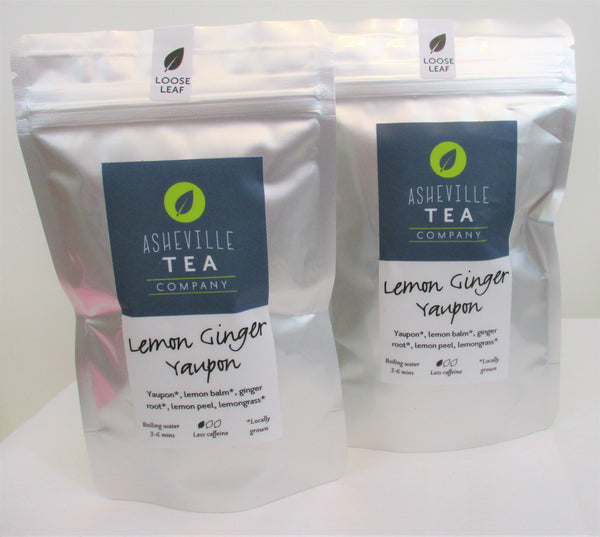 Asheville Tea 1oz Loose Leaf- Lemon Ginger Yaupon Tea- Lite Caffeine