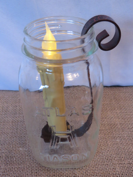 Quart Mason Jar Taper Candle Holder- Barn Roof Finish