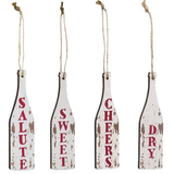 Wine Lovers Set of 4 Wooden Distressed Wine Bottles Christmas Tree Ornaments
